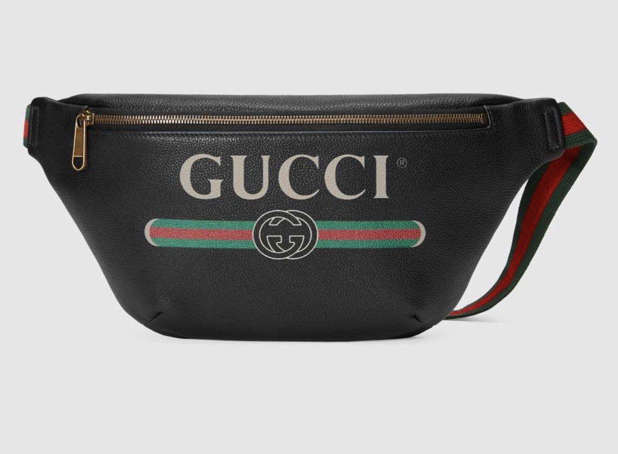 9f0d3830bd34 Gucci Print leather belt bag | Fashion | Leather belt bag, Mens ...