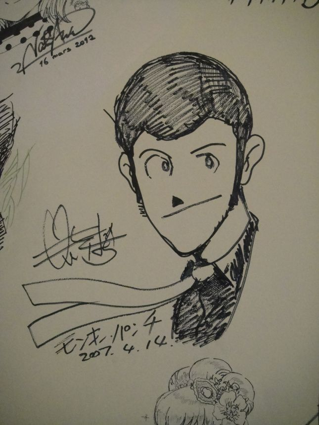 An autographed Lupin III illustration by its creator Monkey Punch