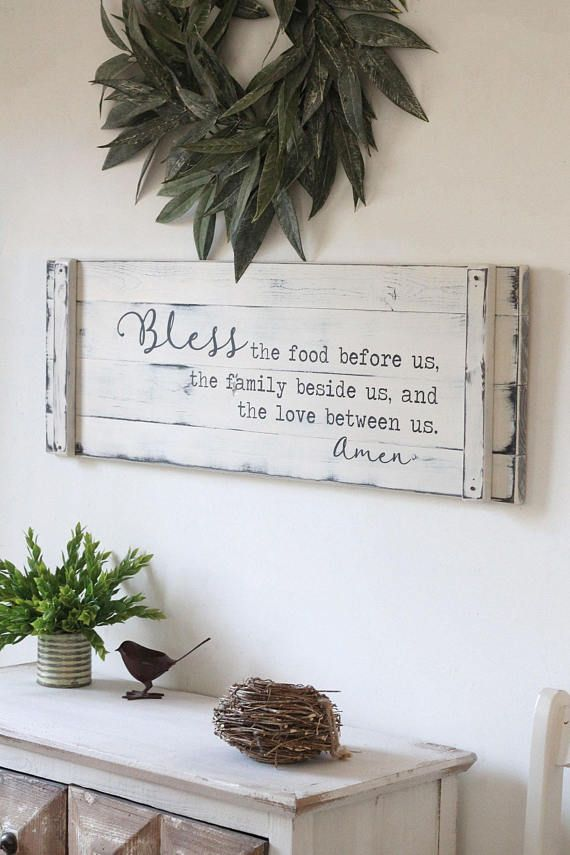 BLESS THE FOOD before us, 36 x12 , rustic dining room sign, prayer sign, large kitchen sign, farmhouse prayer sign