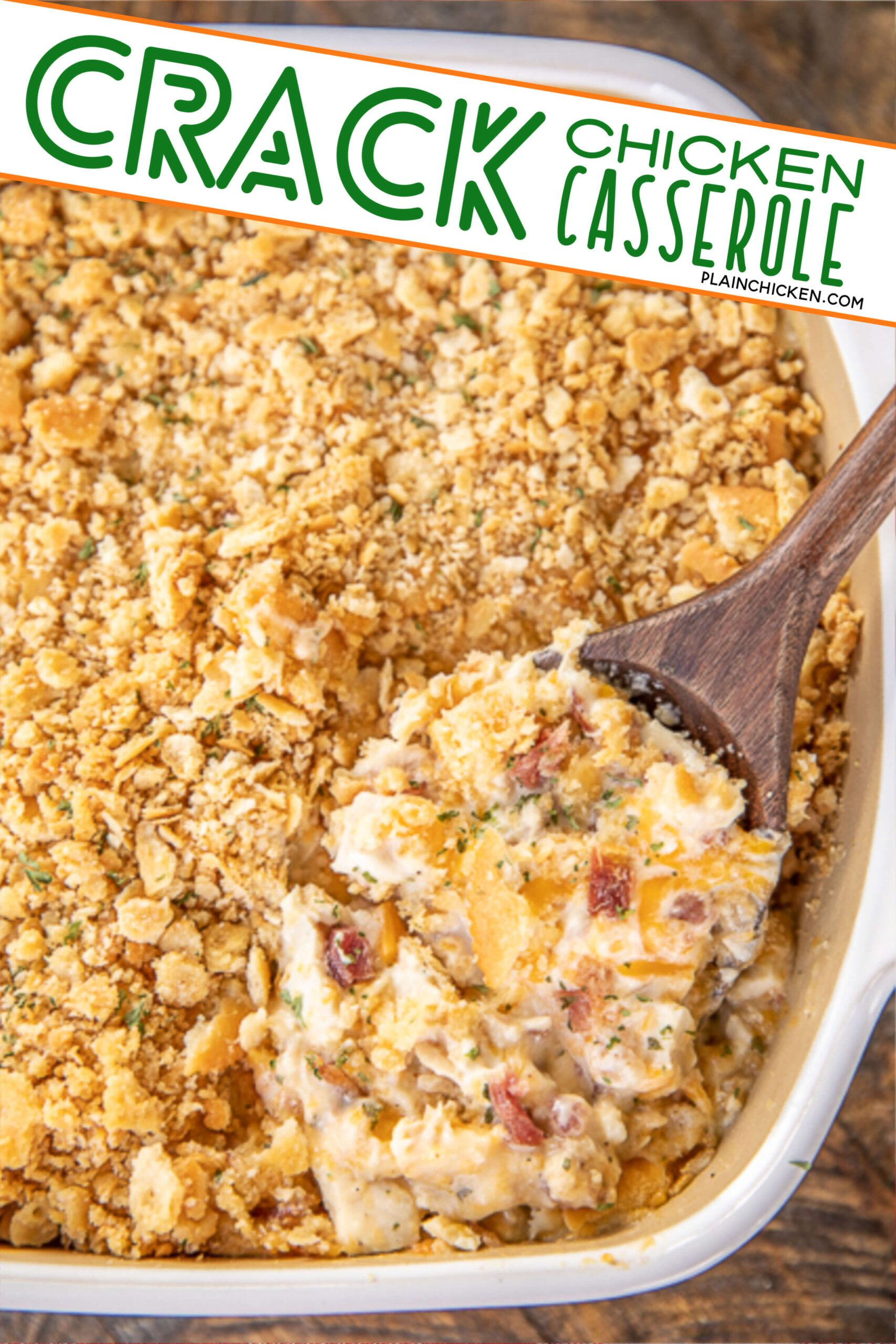 Crack Chicken Casserole - creamy chicken casserole loaded with cheddar, bacon and ranch. Use a rotisserie chicken for easy prep! Chicken, cheddar, bacon, ranch seasoning, sour cream, cream of chicken soup. The whole family LOVED this easy chicken casserole. It is already on the menu again this week! #chicken #casserole #chickencasserole