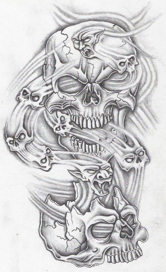 Evil Skull Tattoos : skull, tattoos, Skullz, Markfellows.deviantart.com, @deviantART, Skull, Sleeve, Tattoos,, Tattoo, Design, Drawings,