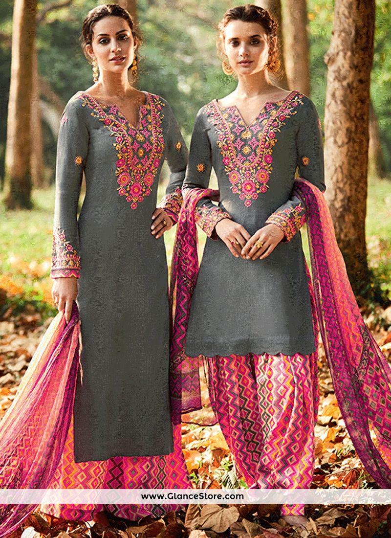 Nice print work grey and pink cotton satin designer suit pakistani