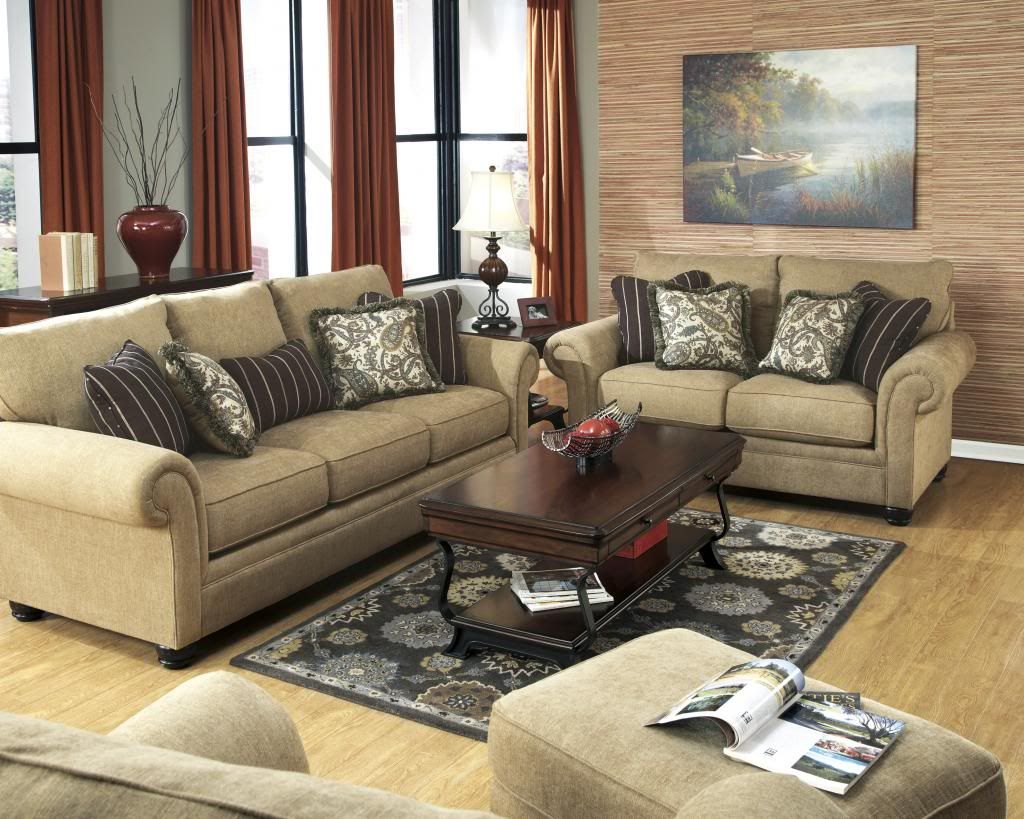Caramel Color Casual Traditional Sofa Set Couch Fabric