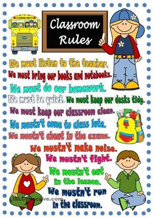 Shocking image within kindergarten classroom rules printable