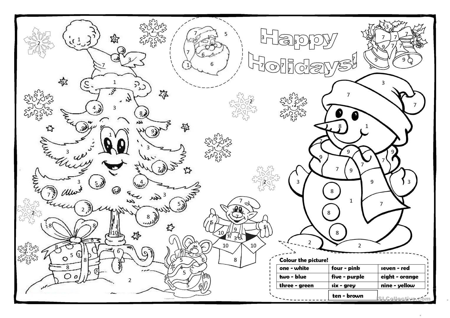 Christmas Colouring 1 English Esl Worksheets In 2020 Christmas Worksheets Color Activities Math Coloring