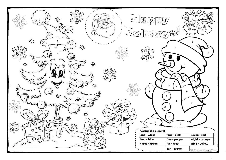 Christmas Colouring 1 English Esl Worksheets Christmas Worksheets Christmas Math Activities Color Activities