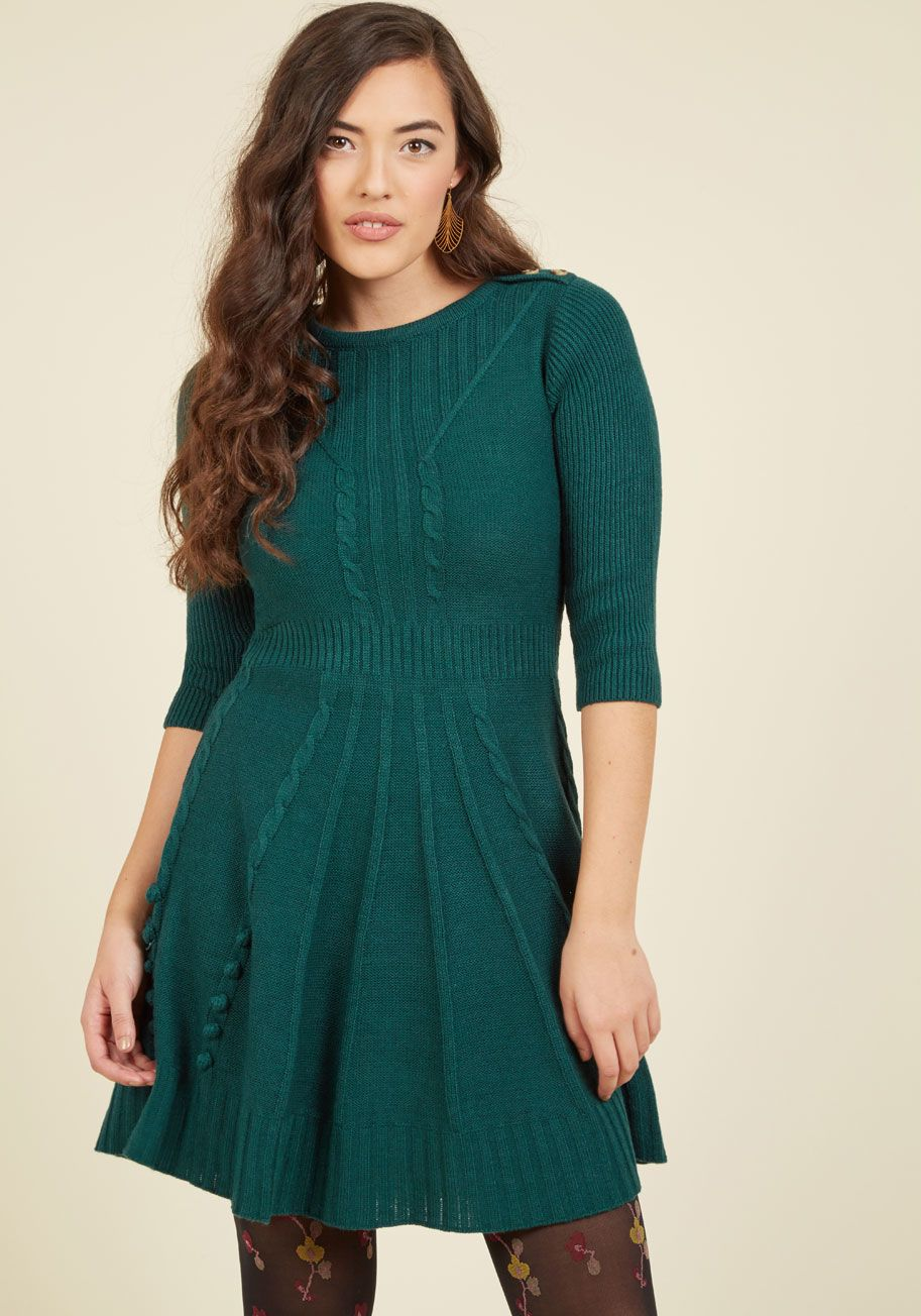 91d9b7b45cd Warm Cider Sweater Dress in Forest in 2019