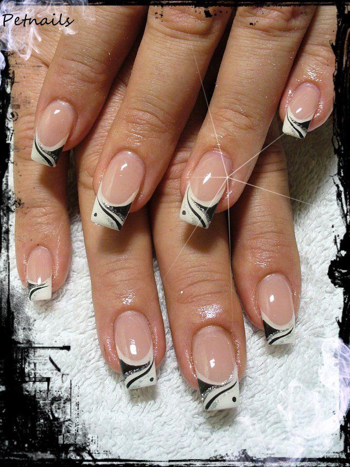 Nail art noir By Petnails | Nail Art - Sharpie | Pinterest | Diseños ...