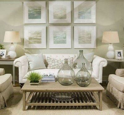 Coastal White And Light Green Living Room