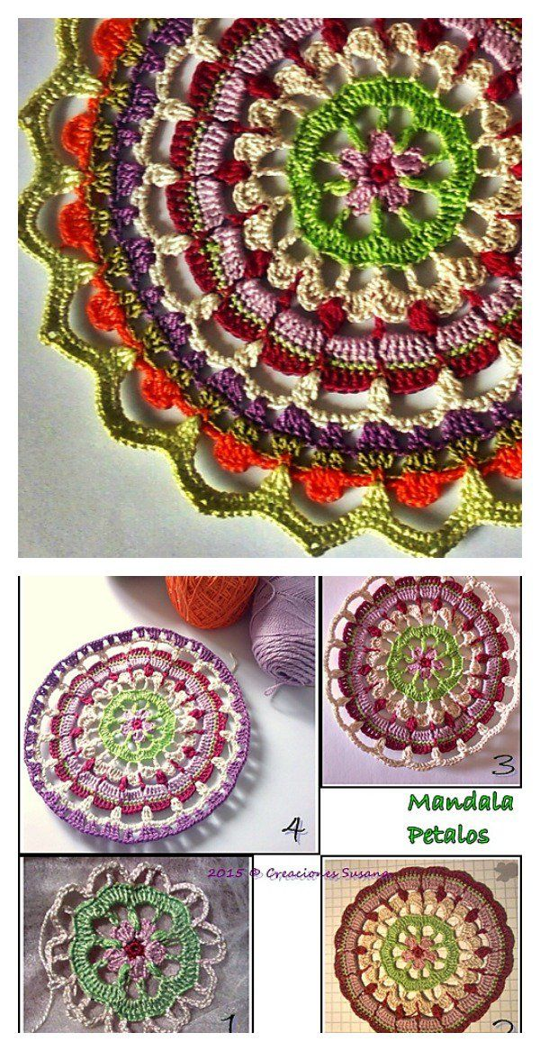 Colorful Crochet Mandala FREE Patterns | Free, Mandalas y Carpetas ...