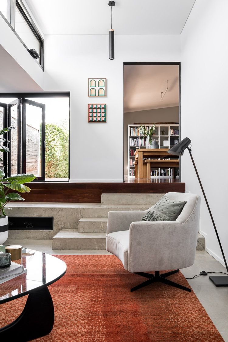 The Morris Swivel Chair In This Living Room By Dalecki Design Is A Compact Perfect For Or Small Home Office