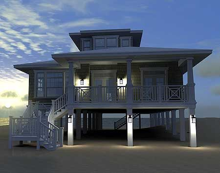Plan 44091td designed for water views narrow lot house for Narrow beach house plans on pilings