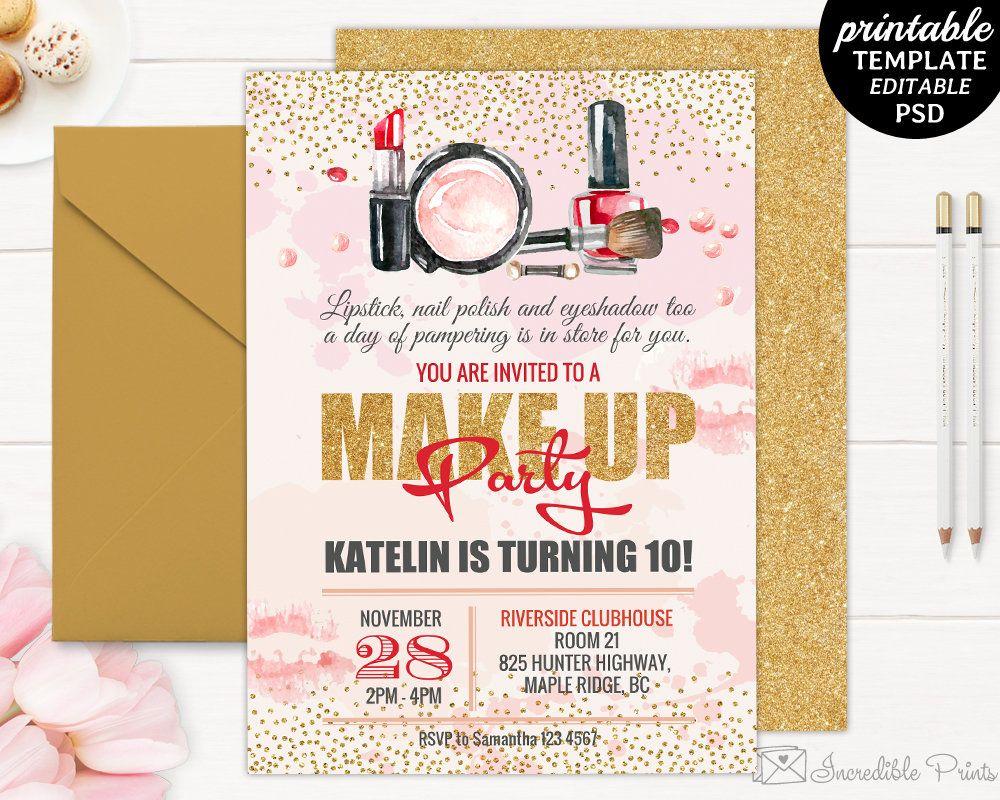 makeup birthday invitation pink and gold invite bd21 birthday