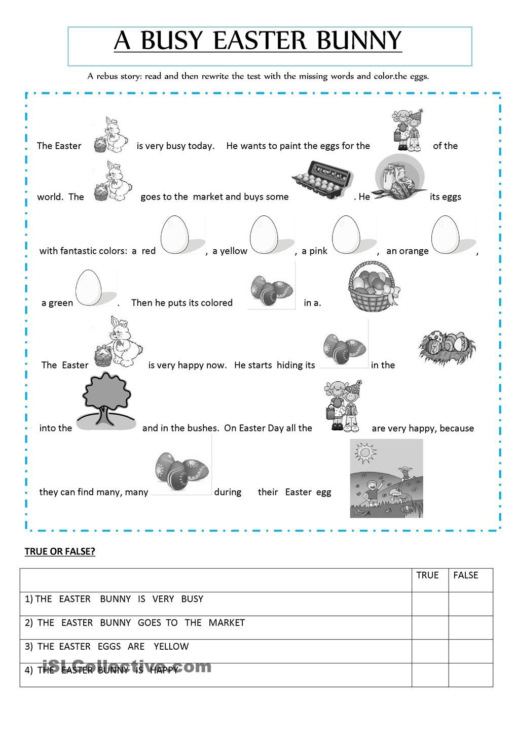 Rebus Story About An Easter Bunny Easter Worksheets Easter Readings Easter Reading Comprehension [ 1440 x 1018 Pixel ]