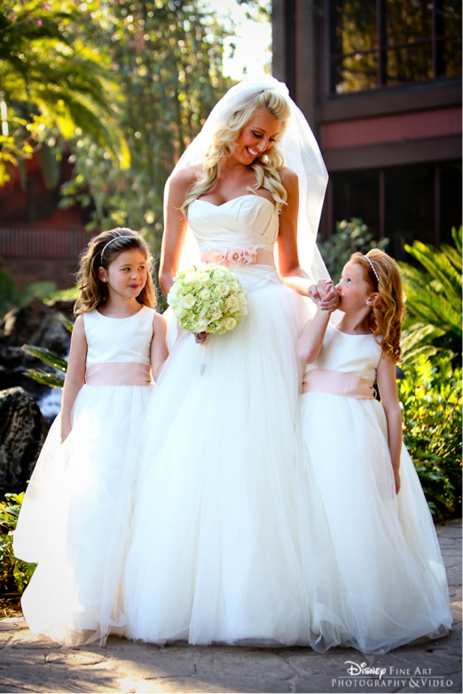 2f25304bfeb Match your gown to your flower girls  dresses for a seamless procession –  and great photo ops!  sash  pink