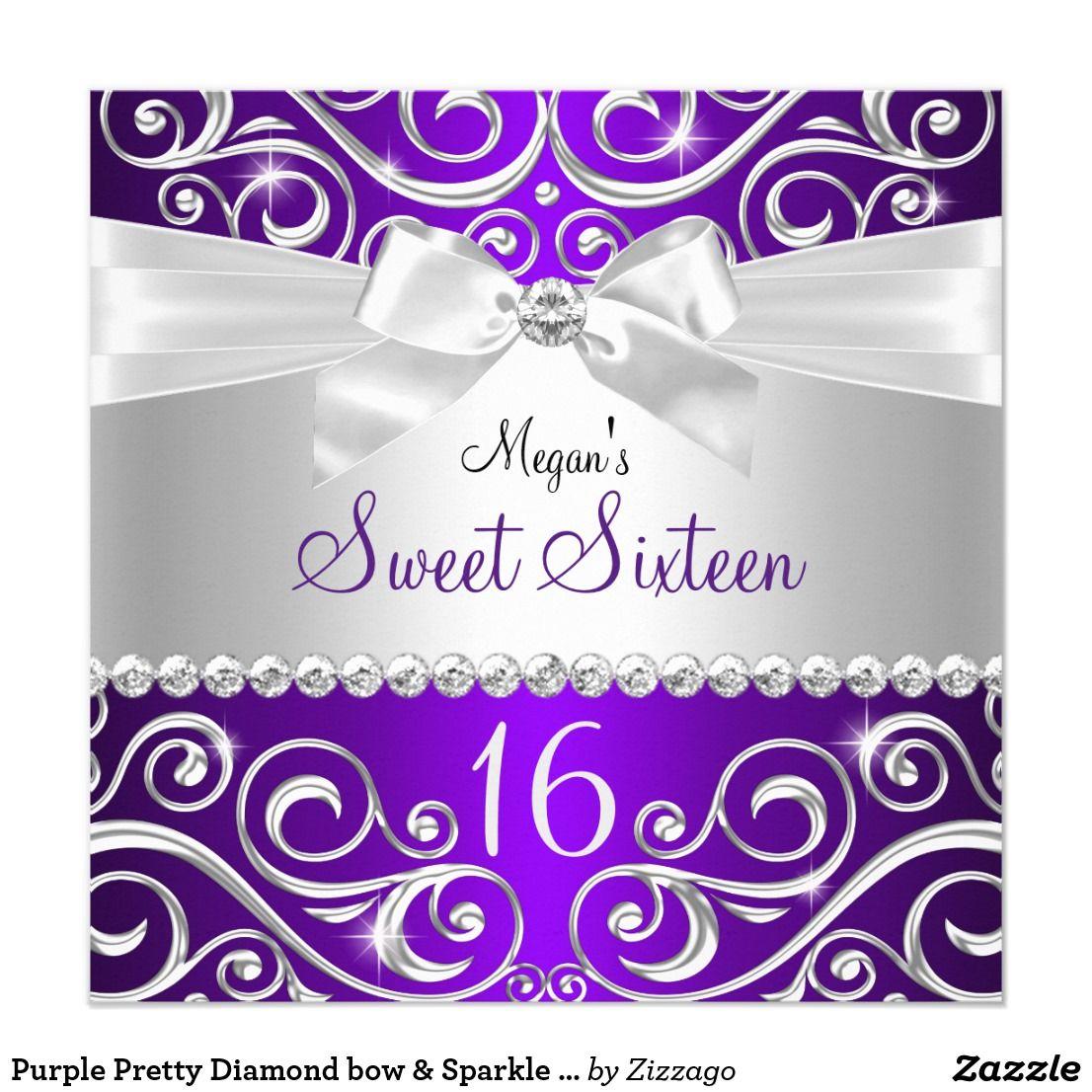 Purple Pretty Diamond Bow Sparkle Swirl Sweet 16 Invitation