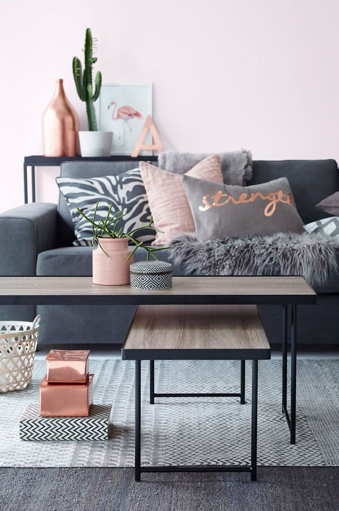 Color Trend Copper And Pink Domino Living Room Grey Living