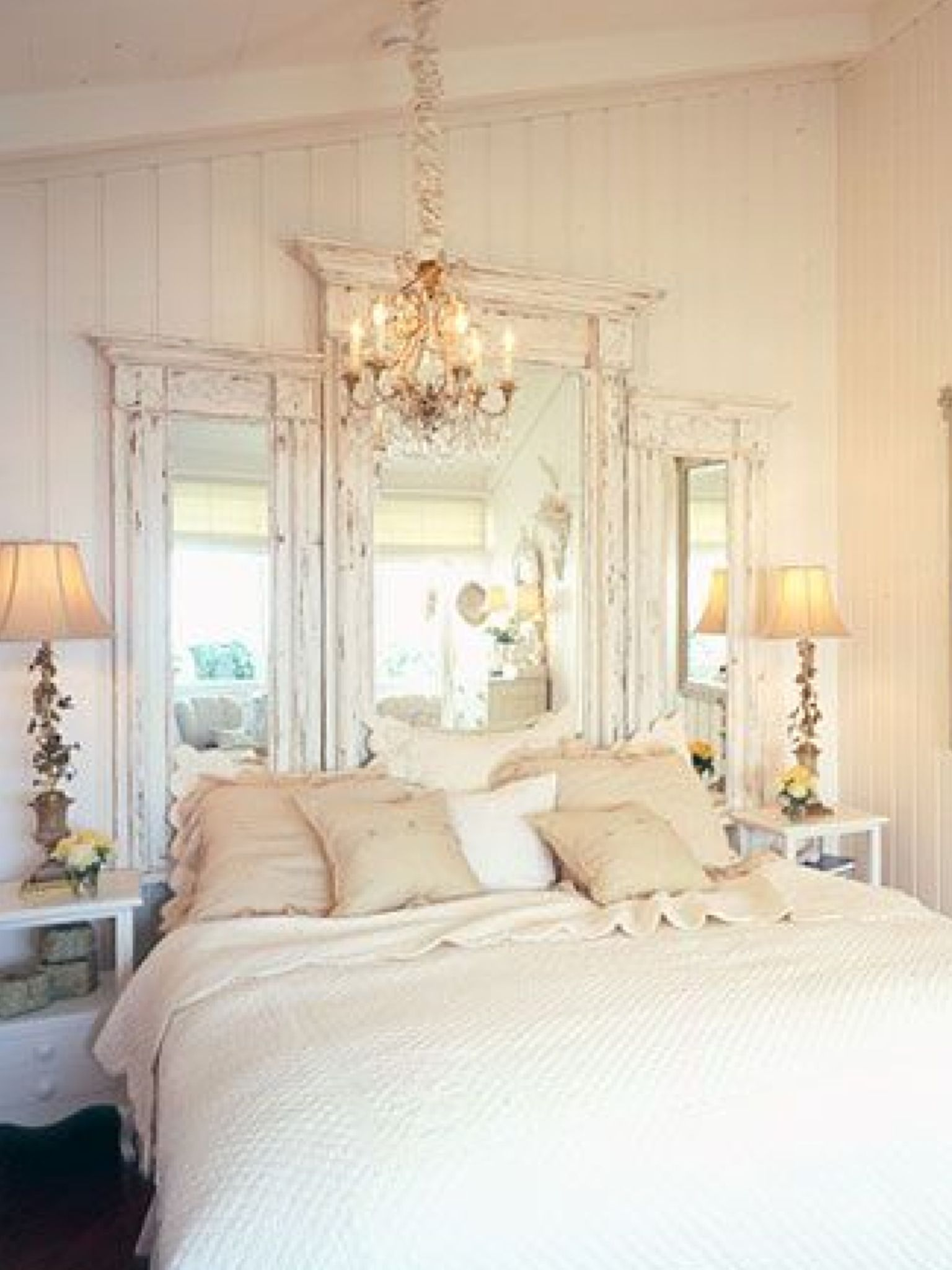 Love These Old Mirrors What A Great Idea Possibly Use Old Doorways In 2020 Chic Bedroom Home Bedroom Home