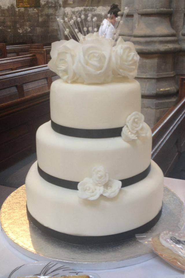 3 Tier Wedding Cake With Navy Ribbon By Magpie Bakery Hull