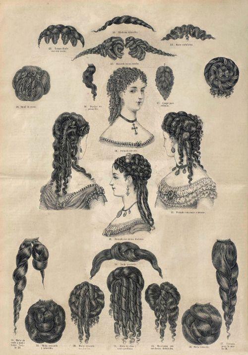 26 De Marzo De 1869 El Correo De La Moda Tutorial Sobre Peinados Y Postizos Viktorianische Frisuren Historische Frisuren Frisuren