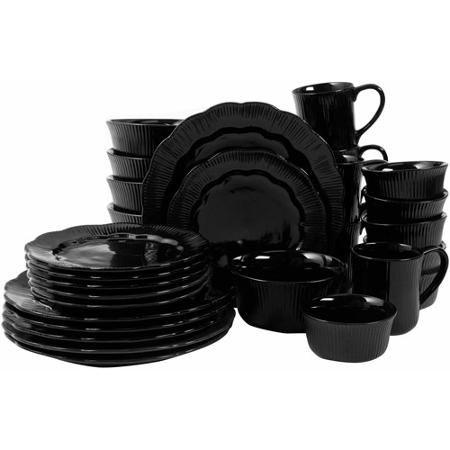 David Tutera Serendra 30-Piece Scallop Shape Debossed Dinnerware Set - Walmart.com