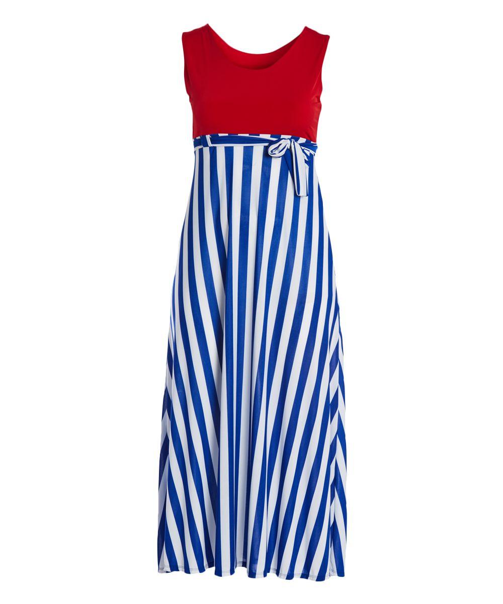 Red u navy stripe empirewaist maxi dress plus products