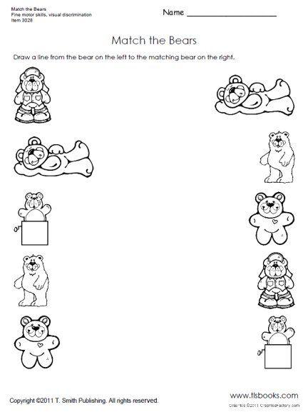 Match The Bears Preschool Worksheet Bears Preschool Preschool Worksheets Bear Theme Preschool