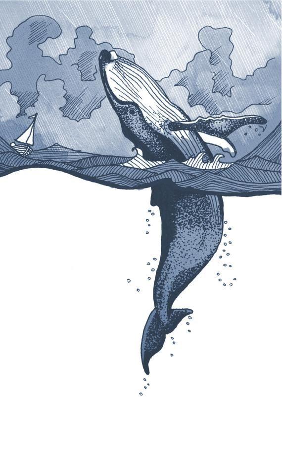 Bosse au dos de baleine violer en mer orageuse avec illustration de bateau. Wall art giclée en taille A5/A4/A3/A2. Baleine, mer, océan, observation des baleines #illustrationart