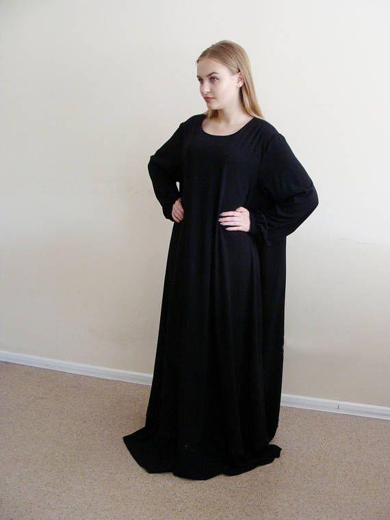 Black Summer Maxi Dress Abaya Oversize Dress Muslim Clothing