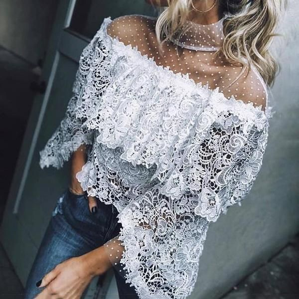 Photo of Casual Sexy Ruffle Lace Blouse