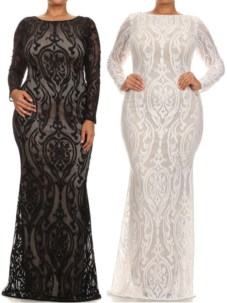 Black lace mermaid dress plus size