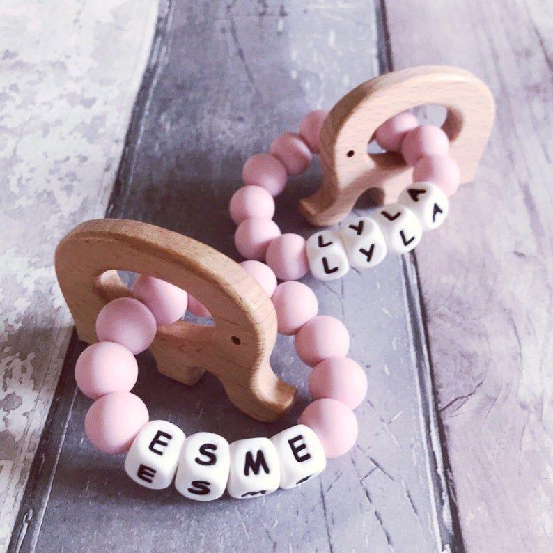 Personalised Wooden Teething Ring Handmade Baby Gift