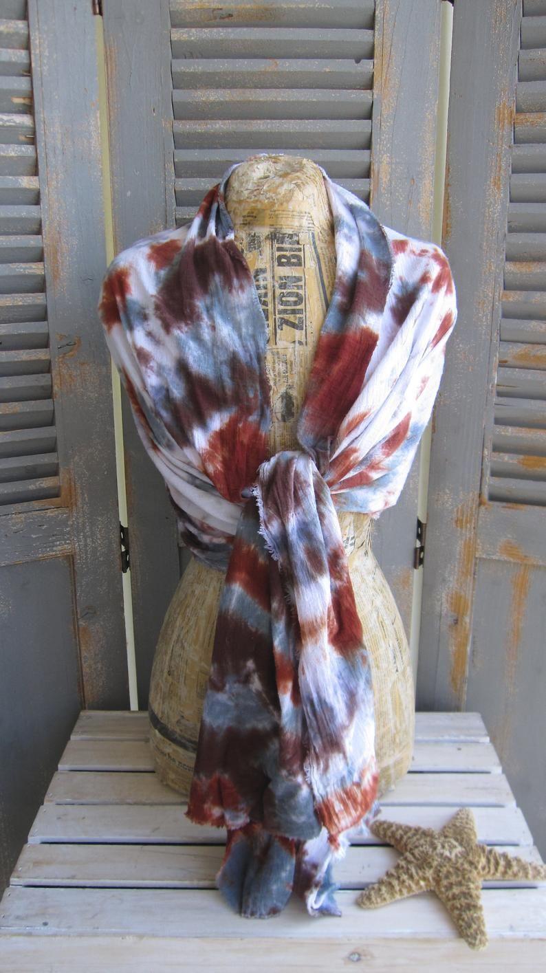 Unisex Gauze Scarf Tie Dye Scarf Cotton Shawl Rust And Etsy In 2020 Tie Dye Scarves Funky Scarves Gauze Scarf