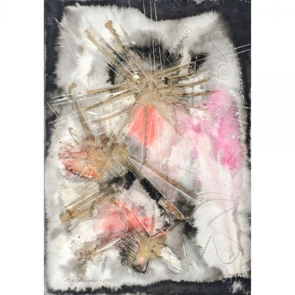 UMBERTO MASTROIANNI (Fontana Liri (Fr) 1910 - Marino (Rm) 1998) - Composizione, 1966 -Tempera con cartoni piegati ed incisi a rilievo, cm. 56,5x38,5