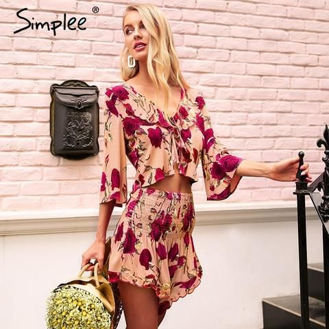 b75520f4a4 Simplee V neck ruffle print rompers womens jumpsuit Smocking two piece  playsuit 2018 Beach casual floral boho summer jumpsuit