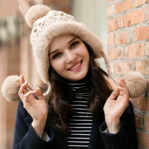 af94ac9d ... knit hats by BUYHATHATS LIMITED. Rabbit Fur winter hats with ear flaps  for women, wear in winter super warm,
