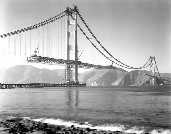 Building the Golden Gate bridge (1937).