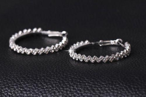 Austrian-Crystal-Hoop-Earrings-in-Silver-1-69-inches-US-Seller