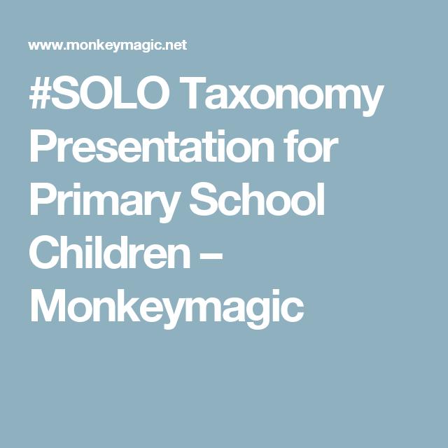 #SOLO Taxonomy Presentation for Primary School Children – Monkeymagic