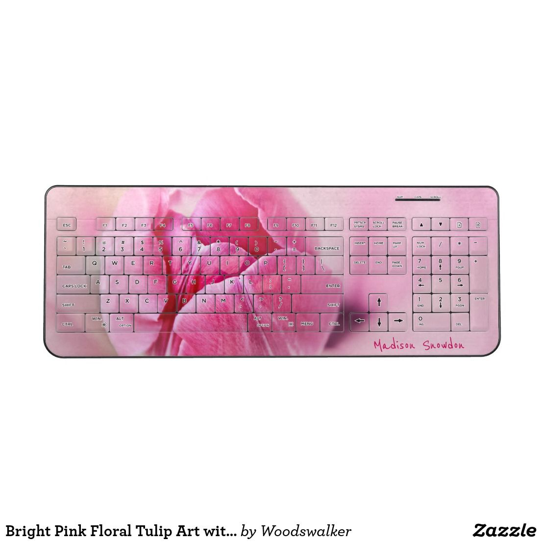 Bright Pink Floral Tulip Art with your Name Wireless Keyboard #GiftsForHer #MothersDayGifts