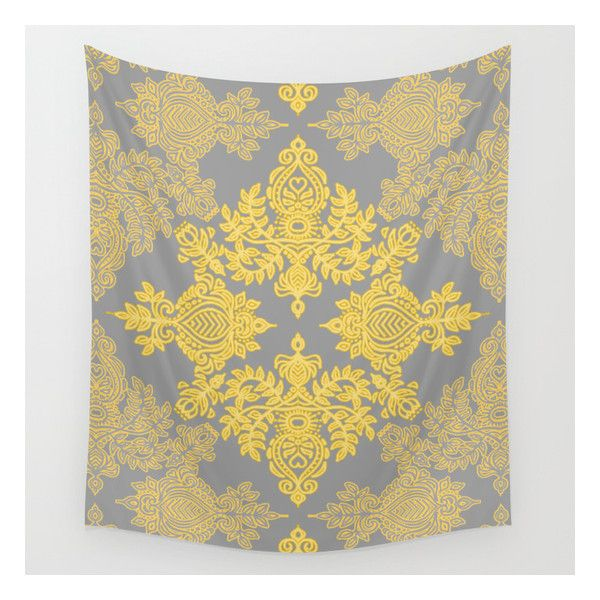 Golden Folk - Doodle Pattern In Yellow & Grey Wall Tapestry ($39 ...