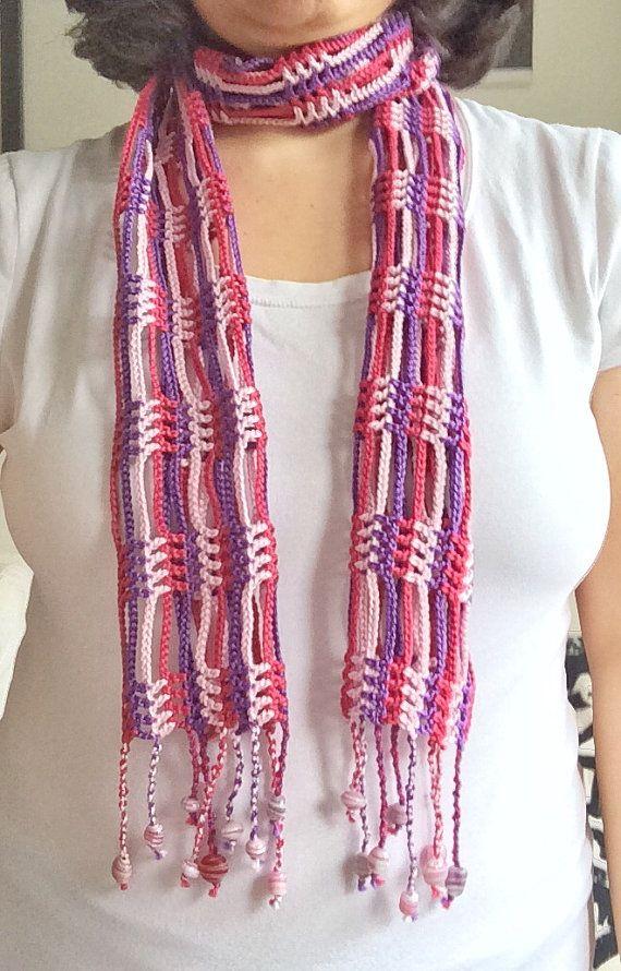 Cachecol De Vero Em Crochet Rosa E Violeta By Gabycrochetcrafts