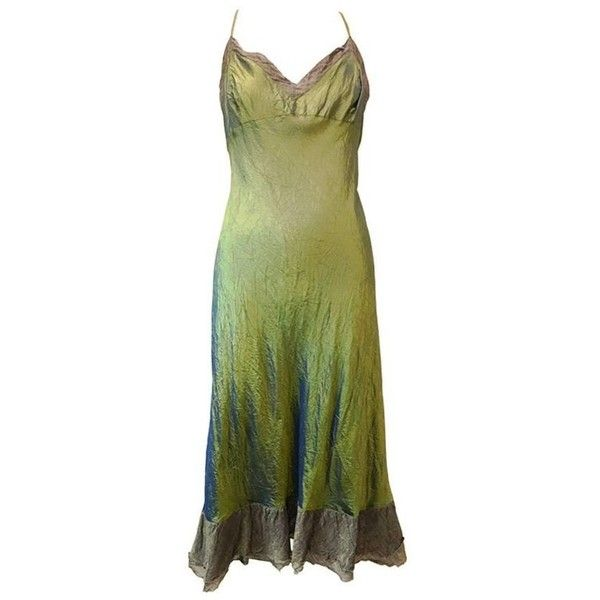 8e44b714c9a5 Preowned Dosa Metallic Jewel Green Slip Dress ($150) ❤ liked on Polyvore  featuring dresses, casual dresses, green, metallic dress, ripped dresses,  ...