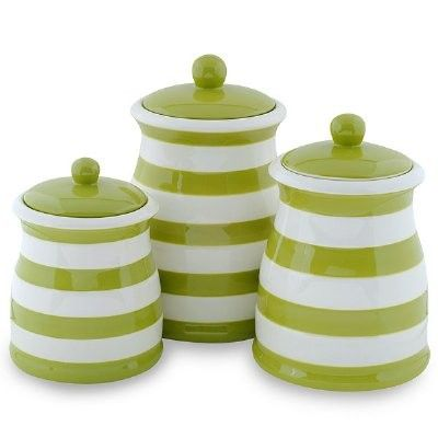 Superbe Green U0026 White Stripe Ceramic Kitchen Canister Set