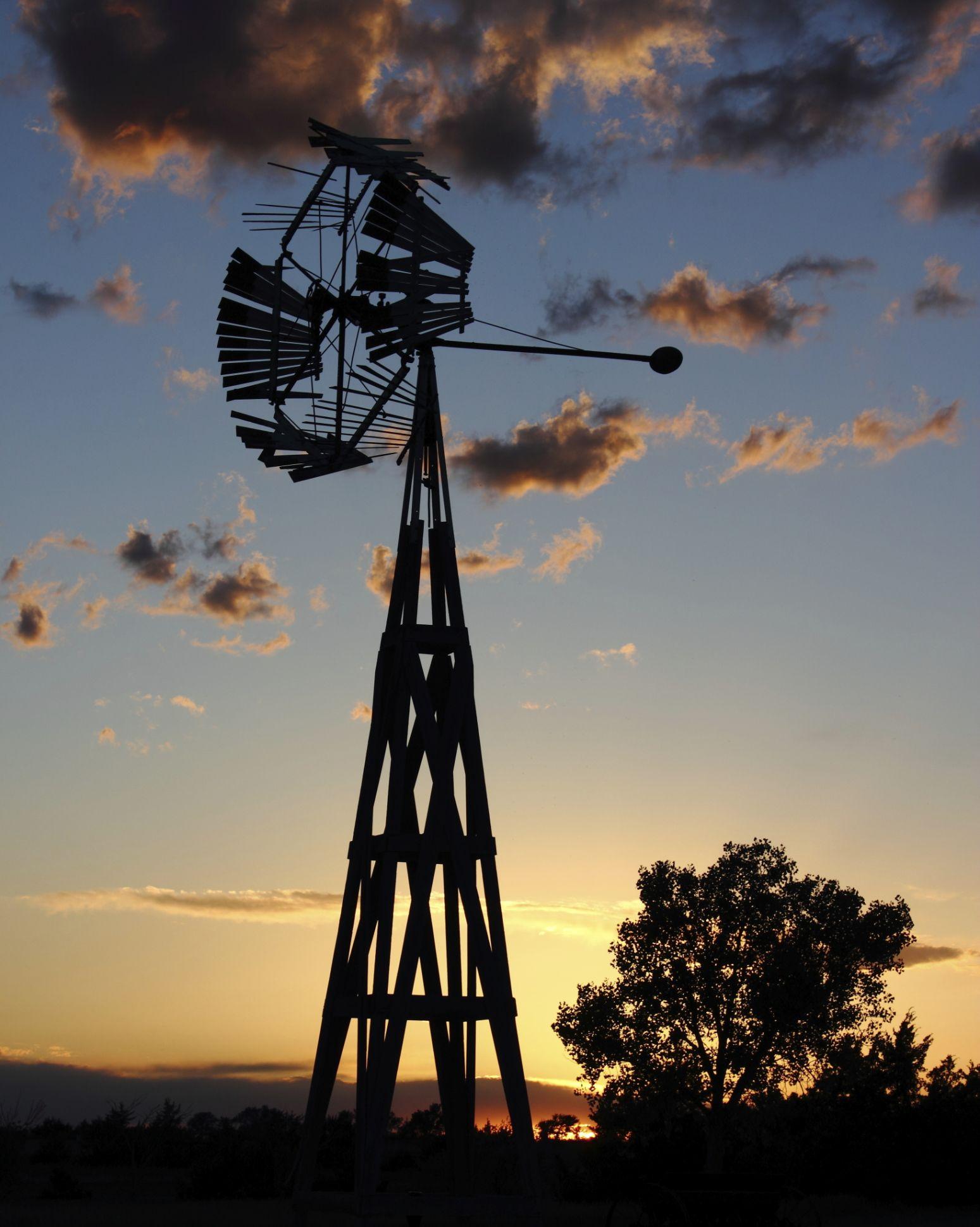 Historic Homestead Windmill in Sunset