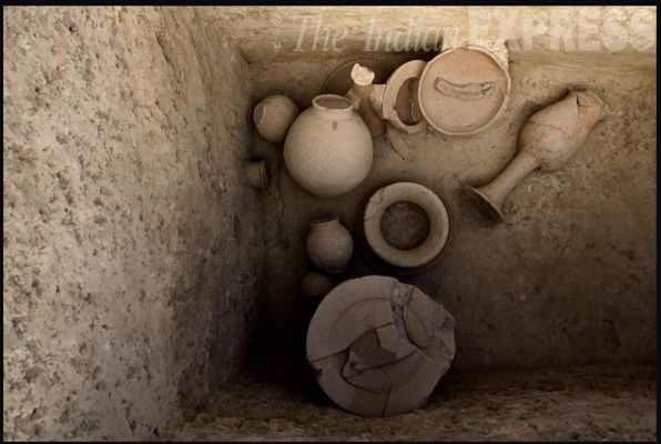 Terracotta pottery unearthed at the 4500 year old excavation site in Farmana, Haryana. The site dates back to the Harappa age and has thrown up human settlement and a burial site. #Photos #India