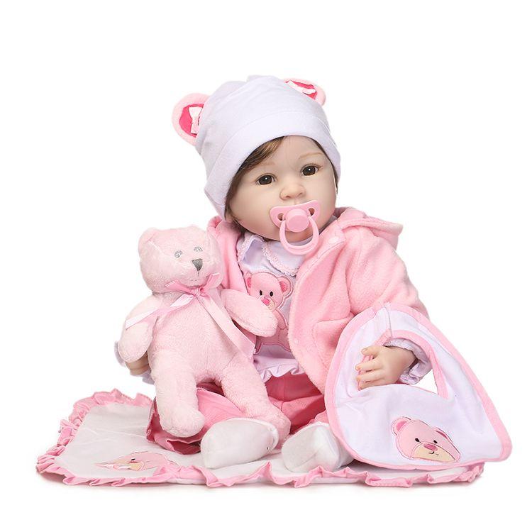 Encontrar Más Muñecas Información acerca de 55 cm Lujo Chupete de Silicona  Renacer Baby Doll Juguetes Con Oso Accesorios Princesa Muñecas Encantadoras  Niñas ... 9f6bc2128b82