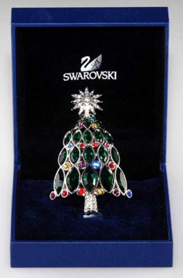 Christmas Jewelry Price Guide: Swarovski Rockefeller Center Christmas Tree Pin, marked 2005