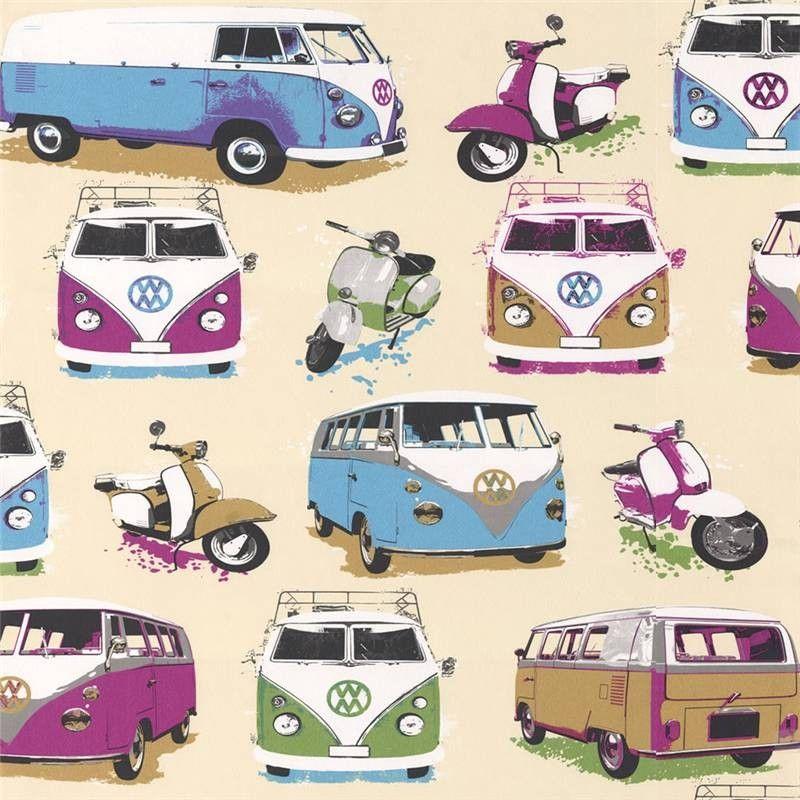 Muriva Campervan Wallpaper J05901 Wallpaper Campervan Wallpaper Wallpaper Camper Van