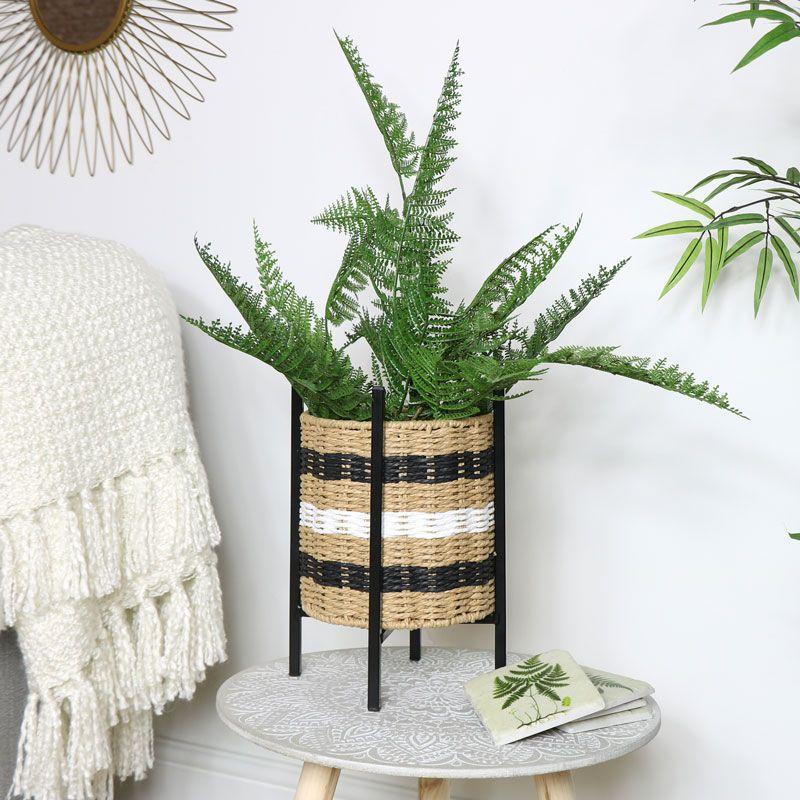 Wicker Basket Planter On Stand Basket Planters Metal Plant Stand Wicker Baskets